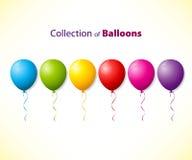 Samlingen av färgar ballonger royaltyfri illustrationer