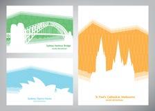Samlingen av färgrika affischer med den vita konturaustraliern siktar Mallar för vykort, turist- baner Royaltyfri Bild