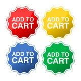 Samlingen av fyra färgade knappar med text tillfogar till vagnen stock illustrationer