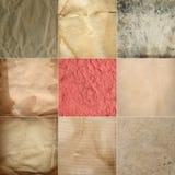 Samlingen av gammal grunge skrynklade pappers- texturer Fotografering för Bildbyråer