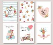 Samlingen av gullig romantisk universal 6 cards mallar Royaltyfri Foto