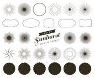 Samlingen av handen dragen retro sunburst som brister strålar, planlägger beståndsdelar Ramar emblem royaltyfri illustrationer