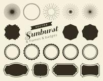 Samlingen av handen dragen retro sunburst som brister strålar, planlägger beståndsdelar Ramar emblem vektor illustrationer