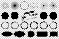 Samlingen av handen dragen retro sunburst som brister strålar, planlägger beståndsdelar Ramar emblem Royaltyfri Bild