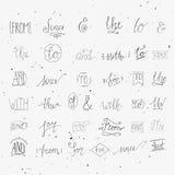 Samlingen av handen skissade et-tecken och slagordar royaltyfri illustrationer