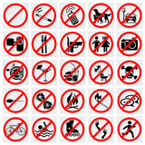Inget stopp undertecknar. Inget - att röka som är inget förföljer eller Pets.Set Prohi Royaltyfri Fotografi