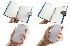Samlingen av isolaten för anteckningsboken för handen för man` s den hållande på en vit bakgrund med den tomma skärmen och kan va Arkivfoton