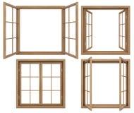 Samlingen av isolerat wodden fönster Royaltyfria Bilder