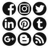 Samlingen av logoer för massmedia för populär cirkelsvart sociala skrivev på ut royaltyfri illustrationer
