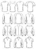 Samlingen av mankläder skisserar mallar royaltyfri illustrationer