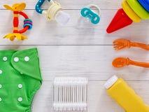 Samlingen av objekt för behandla som ett barn med kopieringsutrymme Arkivbild
