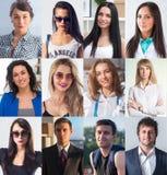 Samlingen av olikt många lyckliga le ungdomarvänder mot caucasian kvinnor och män Begreppsaffär, avatar royaltyfria bilder