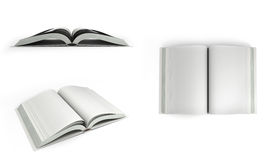Samlingen av Open vita böcker 3d framför på vit bakgrund Arkivfoto