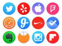 Samlingen av populära symboler för Apple klockaapplikation skrivev ut på papper stock illustrationer