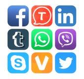 Samlingen av populära sociala nätverkandesymboler skrivev ut på papper Royaltyfria Bilder
