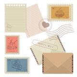Samlingen av postdesignbeståndsdelar - posta samlingen av designen Arkivfoton