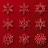 Samlingen av rött blänker snöflingor Nio snöflingor av olika former Garnering för vinterferier royaltyfri illustrationer