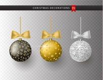 Samlingen av realistisk härlig skinande jul klumpa ihop sig med pilbågen på genomskinlig bakgrund nytt år för garnering vektor illustrationer