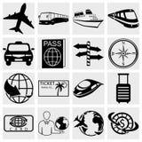 Resa och turismsymbolsuppsättningen. Simplus serie. Vecto stock illustrationer