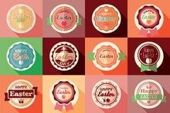Samlingen av retro påsketiketter för tappning, klistermärkear, förser med märke Royaltyfria Bilder
