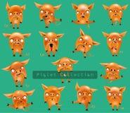 Samlingen av roliga svin med olika sinnesrörelser och i olikt poserar isolerat på bakgrund royaltyfri illustrationer