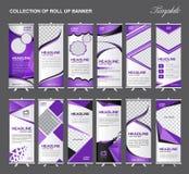 Samlingen av rullar upp mallen för banerdesignställningen, reklambladdesign royaltyfri illustrationer
