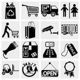 Shopping supermarket servar uppsättningen av symboler Fotografering för Bildbyråer