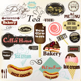 Samlingen av tappning märker och förser med märke kaffe, bagerit, varmkorvar Royaltyfri Foto