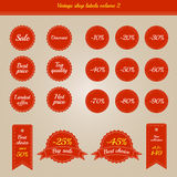 Samlingen av tappning shoppar etiketter - försäljningar och erbjudanden - volym 2 Royaltyfri Fotografi