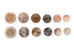 Samlingen av thailändskt mynt, som består av 10, 5, 2, 1, 0 50 0 framdel och tillbaka sida för 25 baht värde på perfekt isolerad  royaltyfri bild