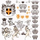 Samlingen eller uppsättningen av det tappning utformade heraldiska lejonet för beståndsdelhästenhörningen skyddar kronor och anna royaltyfri illustrationer