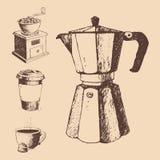 Samlingen för kafét för drinken för teckningen för tappning för bönor för kaffeproduktion skissar handen drog retro efterrättvekt Royaltyfria Foton