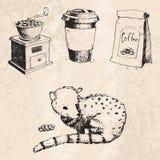 Samlingen för kafét för drinken för teckningen för tappning för bönor för kaffeproduktion skissar handen drog retro efterrättvekt Arkivbilder
