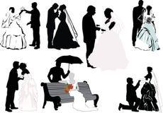 samlingen förbunde bröllop Fotografering för Bildbyråer