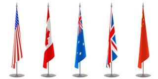 samlingen flags tabellen Royaltyfri Fotografi