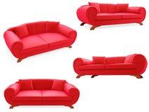 samlingen isolerade sofas royaltyfri illustrationer