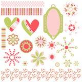 Samlingen med etiketten, hjärtor, blommar och klipper Arkivbild