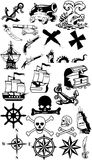 samlingen piratkopierar silhouetten Arkivfoto