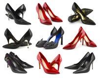 samlingen shoes kvinnan royaltyfria bilder