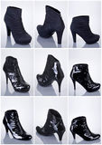 samlingen shoes kvinnan Arkivbilder