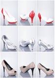 samlingen shoes kvinnan Fotografering för Bildbyråer