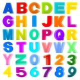 Samlingen snyltar alfabet och numrerar isolerat på vitbackgrou Royaltyfri Foto