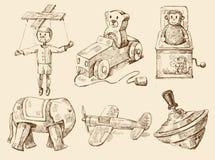 samlingen tecknade handen toys tappning Arkivbild