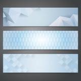 Samlingsbanerdesign, blå geometrisk bakgrund Royaltyfri Fotografi