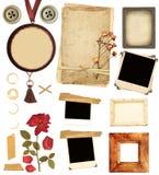 Samlingsbeståndsdelar för scrapbooking Arkivfoto