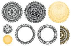 Samlingsbeståndsdelar från indisk mandala Vektormandala i svart- och apelsinfärger Zenmandala för din design Arkivfoton
