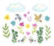 Samlingsblommor, fåglar, fjärilar, filialer och sidor i tappningvattenfärgstil stock illustrationer