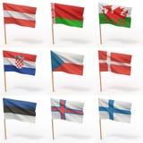 samlingseuropeanflaggor stock illustrationer