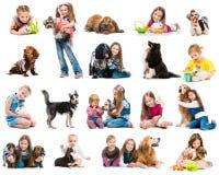 Samlingsfoto av unga barn med hundkapplöpning och royaltyfria bilder