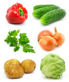 samlingsfrukter isolerade grönsakwhite royaltyfri fotografi